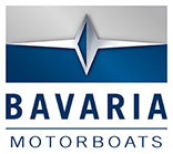 Blue and silver Bavaria motor boat logo